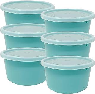Codil Lot de 6 boîtes de rangement,récipients de cuisine,réutilisables,récipients en plastique,rond bas avec couvercles fl...
