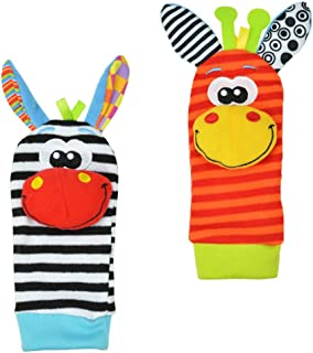 Mine Tom, Minetom 2SET brillante bebé infantil Kids Lamaze suave muñeca calcetines del pie del juguete buscador Rattle Manos alza Calcetines A Una Talla