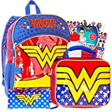 Super Hero Girls Backpack and Lunch Box Set -- Deluxe 16' Backpack with Insulated Lunch Bag Featuring Wonder Woman with Stickers (Superhero Girls School Supplies)