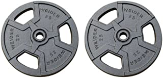 Smooth, Coated Weights for Quiet Lifts Standard Hammertone Weight Plate, Black. Set of 2 (25)
