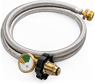 SHINESTAR 5FT POL Stainless Braided Propane Hose Adapter with Propane Tank Gauge, 1lb to 20lb Propane Converter Hose for Propane Stove, Tabletop Grill and More 1lb Portable Appliance