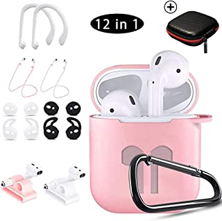 AirPods Case, 12 in 1 Silicone Apple AirPods Charging Case Cover Accessories Set, Watch Band Airpods Holder/Ear Hooks/Keychain/Carrying Box (Pink)