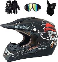 4PCS Casque Int/égral Quatre Saisons pour Motocross pour Hommes sur Route JCLDG Casque de Moto pour Enfant Motocross Cross Off-Road BMX ATV Quad avec Masque De Lunettes Et Gants
