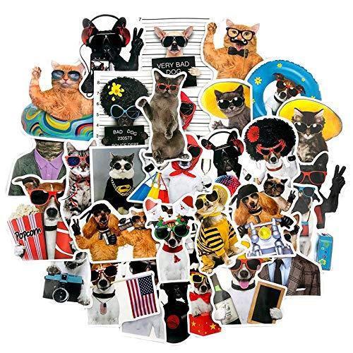 YZFCL Funny Cat and Dog Cute Pet Animal Sticker Refrigerator Laptop Scooter Guitar Suitcase Waterproof PVC Graffiti Sticker 50PCS