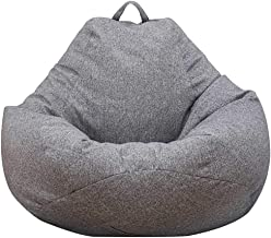 Iraza Puff Funda de Bean Bag 100x120cm,Kit de Sillónes de Hinchables de Adulto Infantil,Piel Sintetica,Color Gris, para Sala Dormir (100x120cm)