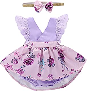 PROBABY Toddler Baby Girl Floral Dress Lace Ruffle Sleeve Clothes Romper with Headband 2Pcs Outfit