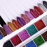 Polvo de uñas,Colores mezclados Nail Art Glitter Súper brillante Holográfica Glitter Powder Manicure Dust Sparkles Nail 1 Set