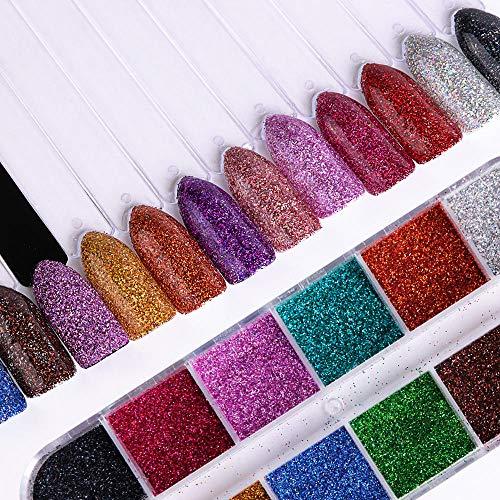 Poudre à ongles,Couleurs mélangées Nail Art Glitter Super Shining Holographic Glitter Poudre Manucure Poussière Sparkles Nail 1 Set