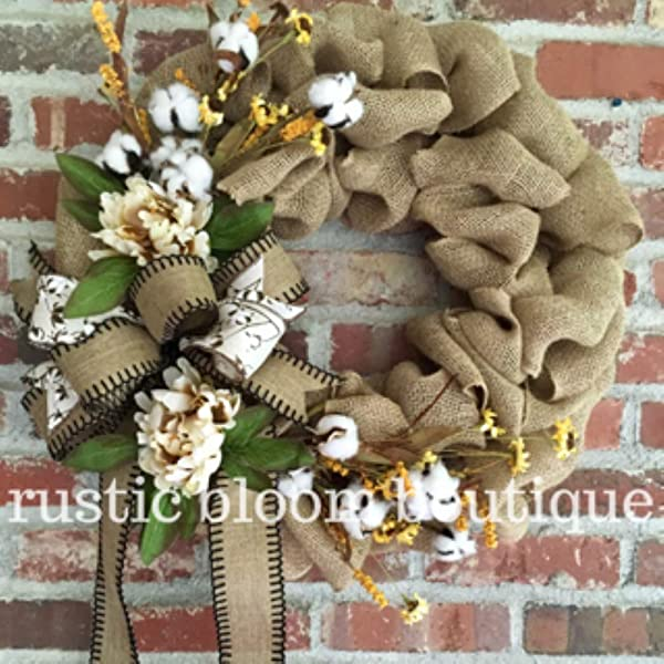 Fall Burlap Cotton Boll And Peony Wreath Fall Farmhouse Burlap Wreath Fall Peony Wreath Fall French Country Decor Fall Burlap Wreath For Front Door