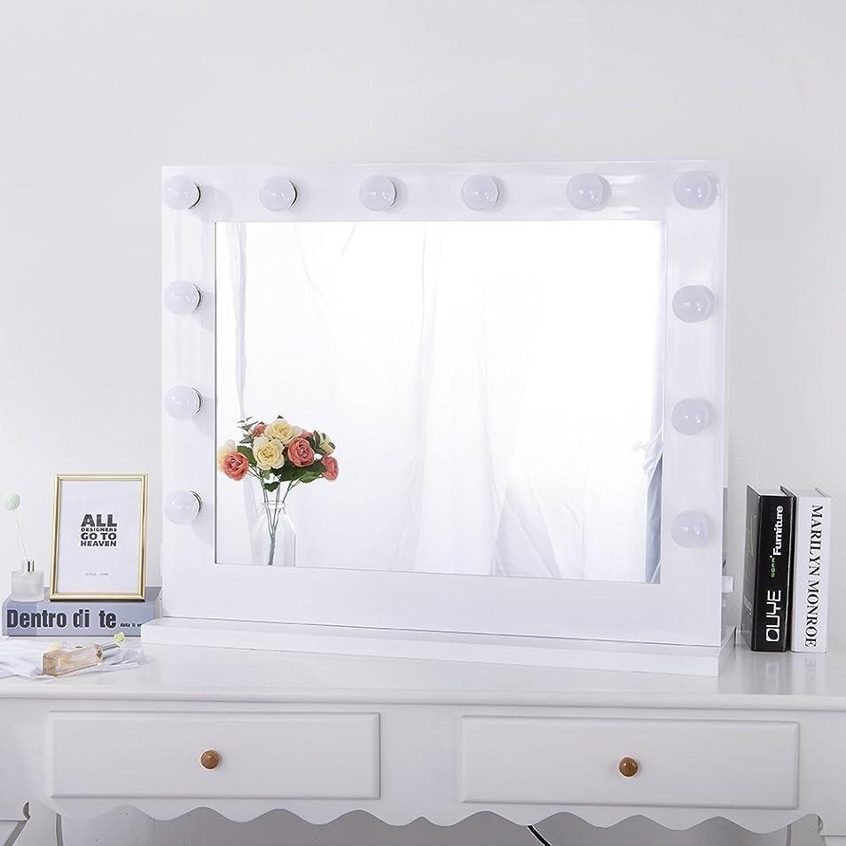 添加剤電話電話ハリウッドミラー 女優ミラー 大型 壁掛け LEDライト付き コンセント付き 無段階調光 化粧鏡 ドレッサー 女優鏡 (横型8065)