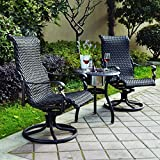 Darlee Victoria 3 Piece Resin Wicker Bistro Set - End Table with Ice Bucket...