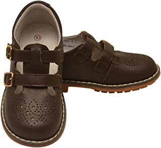 L'Amour Little Girls Brown Double T-Strap Buckled Leather Shoes 5-10 Toddler