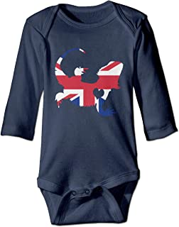 Newborn Baby Boys Girls British Flag Bearded Dragon Silhouette Organic Cotton Clothes Pajamas Bodysuits