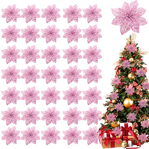 TURNMEON 36 Pack Christmas Flowers Decorations, Glitter Poinsettia Christmas Tree Ornaments, 4' Artificial Silk Flowers Picks for Christmas Wreaths Garland Holiday Decoration (Pink)