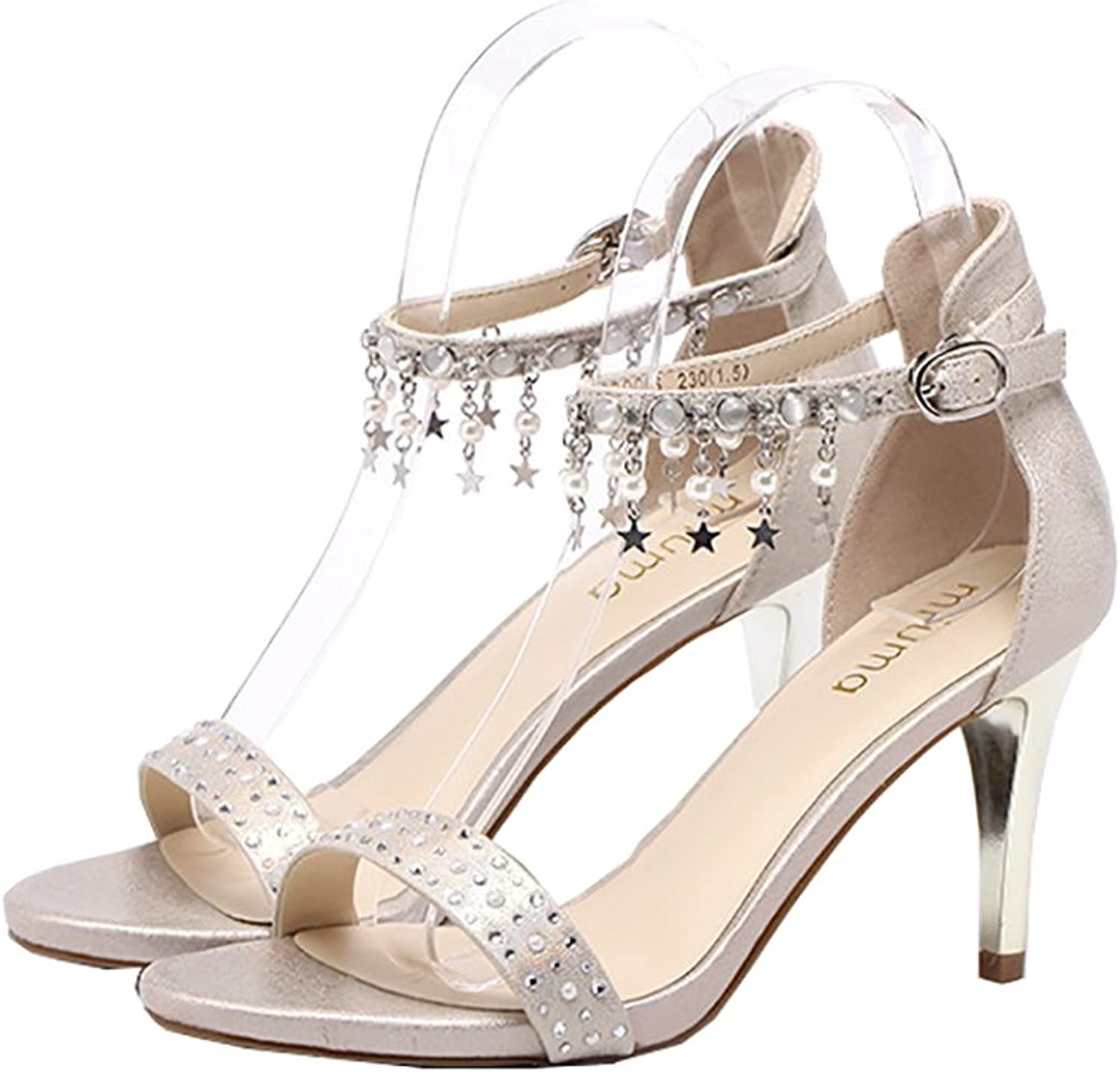 High-Heeled Sandal Women Leather shoes Office Worker Tassels Bead High Heel shoes (color   Beige, Size   37)