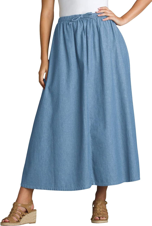Woman Within Women's Plus Size Petite Flared Denim Skirt