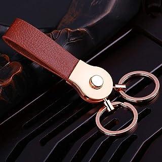سلسلة مفاتيح بحلقة مزدوجة للتعليق من الجلد الأصلي بسلسلة مفاتيح متوافقة مع الرجال والنساء بجودة عالية (اللون : ذهبي، المقا...