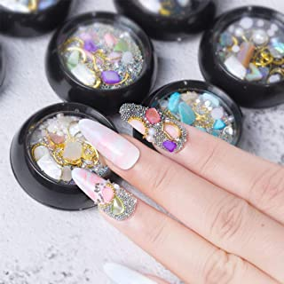 8 Boxes Nail Art Rhinestones Diamonds Beads, Tingbeauty Nail Art Crushed Shell Crystals Gems Mixed Colorful for DIY Crafting Jewelry Makeup 3D Decorations