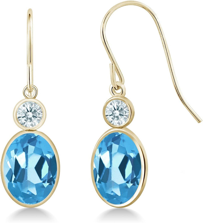 3.02 Ct Swiss bluee 14K Yellow gold Earrings Made With Swarovski Zirconia