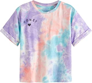SweatyRocks Women's Rolled Short Sleeve Tie Dye Letter Print Crop Top T Shirt