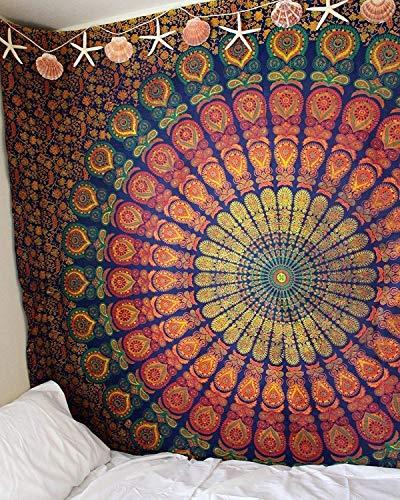 Popular Handicrafts Hippie-Mandala-Wandbehang, indischer Pfau, Maditation, Gypsy, Bohemian, Hippie, Psychedelic, Wohnheim, Raumdekoration, Poster, Kastanienbraun, gelb, 76,2 x 101,6 cm