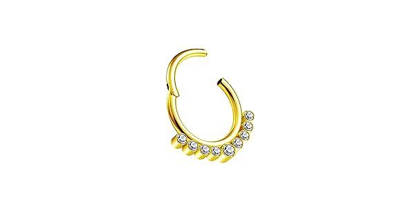 BIG GAUGES Piece of Anodize Steel 16gauges 1.2mm 10mm CZ Stones Hinged Segment Nose Hoop Ring Cartilage Septum Tragus Piercing BG7326
