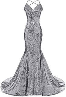 VeraQueen Women's V Neck Mermaid Prom Dress Sequins Spaghetti Straps Formal Evening Dress