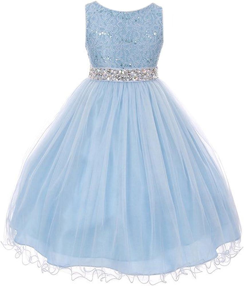 Glitters Sequin Double Layer Flower Girl Dress Rhinestones Sash