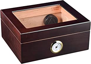 Volenx Desktop Cigar Humidor, Wooden Travel Humidor for Cigars with Hygrometer and Humidifier Holds 25-50 Cigars …