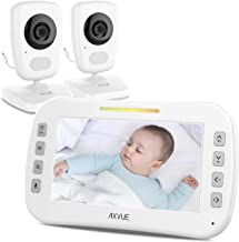 [Brand New 2020] Video Baby Monitor 5-inch LCD (high Resolution) + Two Cameras, Baby Monitor with Camera and Audio, White