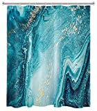 N \ A Duschvorhänge mit Marmorstruktur, natürlicher Luxus, Ozean-Kunst, Achat, Blau, Gold, Granit, Marmor, Textur, für Badezimmer, Dekoration, 182,9 x 182,9 cm, wasserdichtes Polyestergewebe