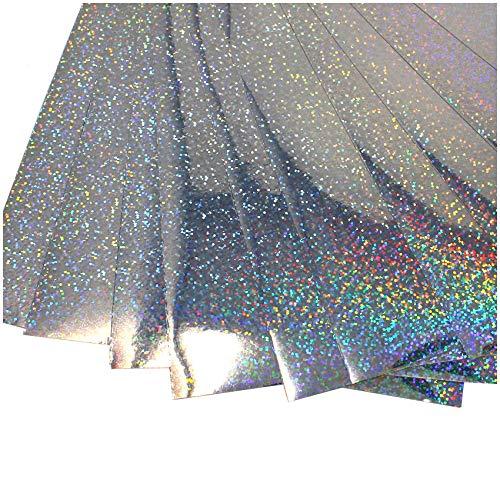 (16,00€/m²) Din A4 Bogen Bastelfolie Selbstklebend Künstlerfolie Plotterfolie Plottfolie Hologramm Glitzer Folie Basteln DIY (Flakes Silber, 10er Set Din A4 Bögen)