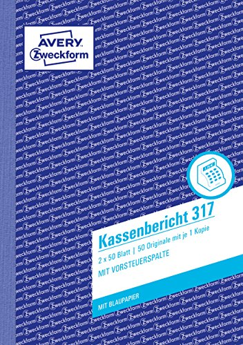 AVERY Zweckform 317 Kassenbericht (A5, mit 1 Blatt Blaupapier, von Rechtsexperten geprüft, für Deutschland und Österreich zur ordnungsgemäßen, kostengünstigen Buchführung, 2x50 Blatt) weiß/gelb
