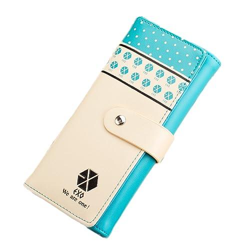 Music Fan Kpop Exo Logo Long Wallet Purse Cute Girlfriend Gifts Blue