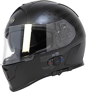 Torc T14B Bluetooth Integrated Mako Full Face Helmet with Flag Graphic (Flat Black, Medium)