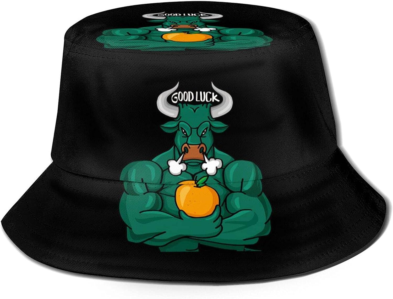 an Angry Green Bull Ox Good Luck Bucket Hats Beautiful Summer Travel Beach Sun Hat