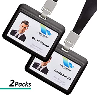 Badge Holder, 2 Sets Horizontal ID Badge Card Holder with Lanyard for Office Company Employee School Student Bus Pass Name Tag Card Holder Black Color