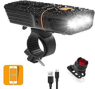 Bicicleta Luz delantera Sannysis USB Recargable bicicleta luz led frontal Impermeable linterna delantera con 3 Modos De Iluminaci/ón para bici