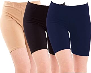 DIXCY Cotton Plain Cycling Shorts for Women (Pack of 3)