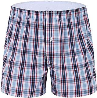 Men's Casual Pyjama Shorts Boxer Briefs Pajama Sleepwear Teen Boys Lounge Wear Pajama Shorts Cotton Plaid Shorts Underwear...