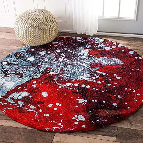Tapis de zone ronde ultra doux, marbre rouge sauvage, shag moelleux étanceur absorbant Tapis de cercle d
