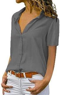 قمصان CRYYU نسائية بأزرار سفلية قصيرة الأكمام بلون خالص