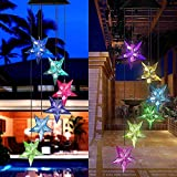Color Changing Solar Power Wind Chime Blue Star LED Wind Chime Wind Mobile