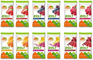 PROBAR - Bolt Organic Energy Chews, Variety Pack, Strawberry, Berry Blast, Orange, Raspberry, Pink Lemonade, Cranberry Pomegranate, Non-GMO, Gluten-Free, USDA Certified Organic (12 Count)