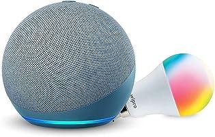 Echo Dot (4th Gen, Blue) + Wipro 9W LED Smart Color Bulb combo - Works with Alexa - Smart Home starter kit