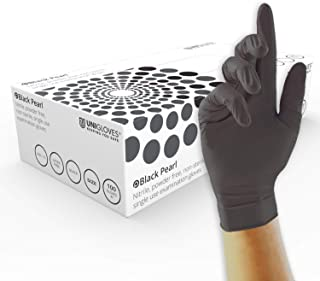 UNIGLOVES GP0034 Pearl Nitrile Gloves, Powder Free, Black, Size L (Pack of 100 Pieces)