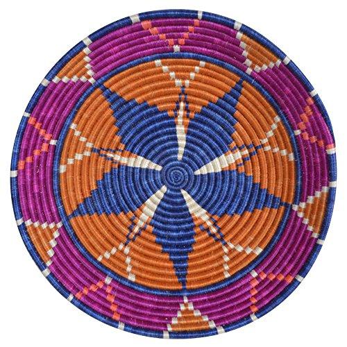 All Across Africa Handwoven 14-inch Hope Basket, Vivid Viola