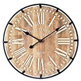 "Oversized Industrial Wood and Metal Wall Clock for Kitchen,Entryway,Living Room,Old Town Noiseless Silent Wall Clock,Farmhouse Wall Clock,Vintage Wood Wall Clock 24"" Round"