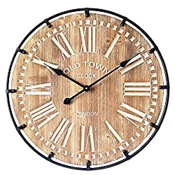 24 Inch Round Large Industrial Wood and Metal Wall Clock for Kitchen,Entryway,Living Room,Old Town Noiseless Silent Wall Clock,Farmhouse Wall Clock,Vintage Wood Wall Clock
