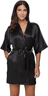 The Bund Women's Pure Colour Short Satin Kimono Robes with Oblique V-Neck